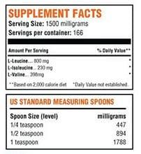 BulkSupplements BCAA Supplement Facts