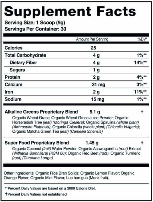 Organifi Green Juice Nutrition Facts
