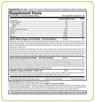 Organixx OrganiGreens Supplement Facts