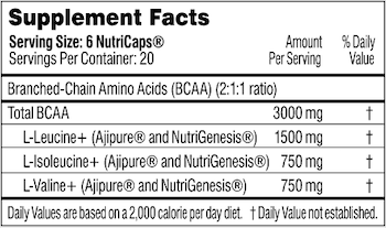 Performance Lab BCAA Supplement Facts