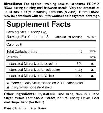 Promix BCAA Supplement Facts