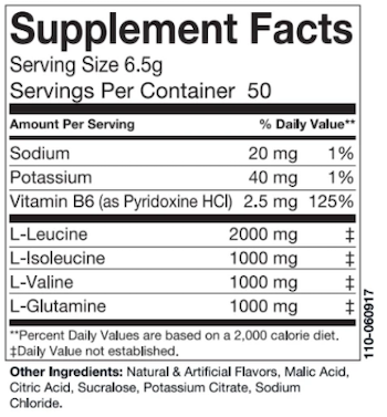 Swolverine BCAA Supplement Facts