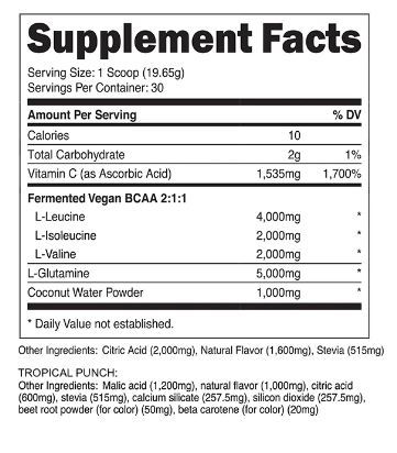 Transparent Labs BCAA Supplement Facts