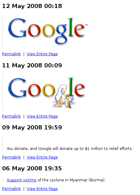 google page2rss